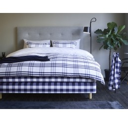 King Modern Check Pillow case—Navy/White